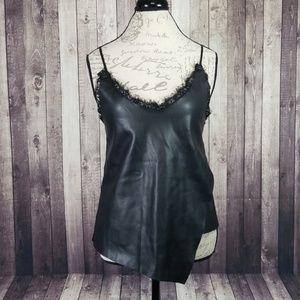 Zara Knit faux leather lace trim asymmetric top
